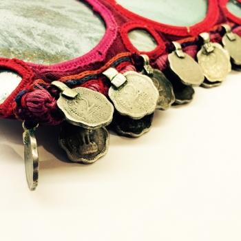 Clutch Coin, bunt, mit Spiegeln und Münzen verziehrt, Zippverschluß ...