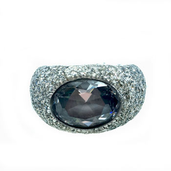 KMO ring silber, cabochon,  schwarz-silver
