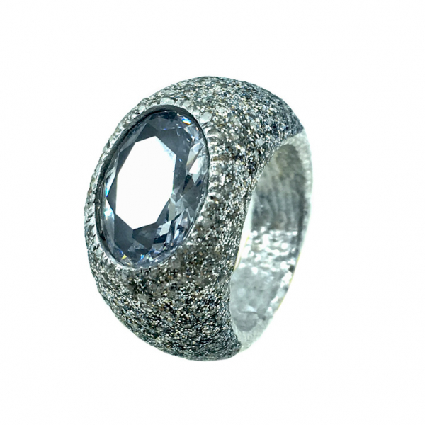 KMO ring silber, cabochon, schwarz-silver,