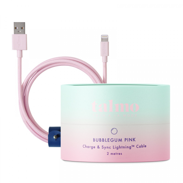 Talmo iphone lightning cable  bubblegum pink 2meter, mit Gift Box, recyclebar