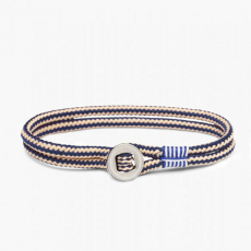 Pig & Hen Armband DON DINO navy-sand | silber